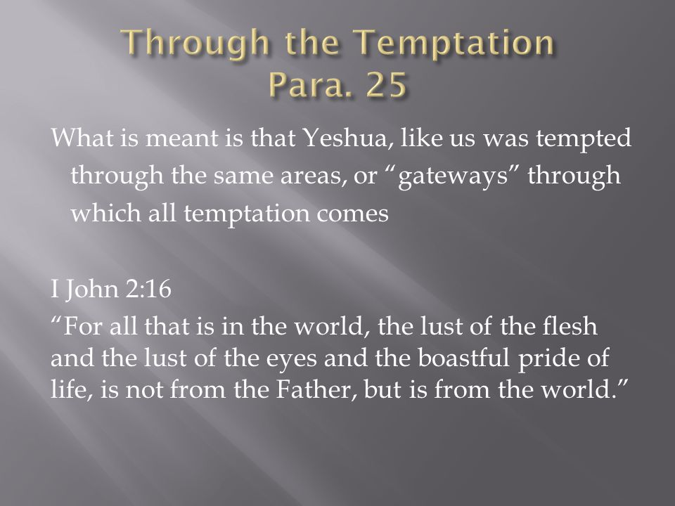 What is meant is that Yeshua, like us was tempted through the same areas, or gateways through which all temptation comes I John 2:16 For all that is in the world, the lust of the flesh and the lust of the eyes and the boastful pride of life, is not from the Father, but is from the world.