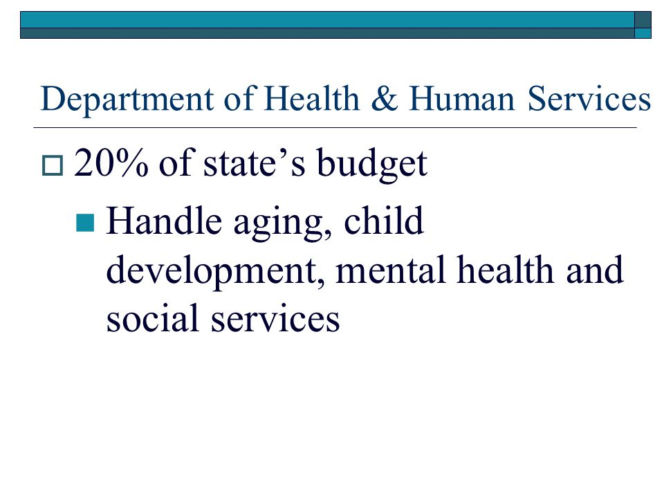 Department of Health & Human Services  20% of state's budget Handle aging, child development, mental health and social services