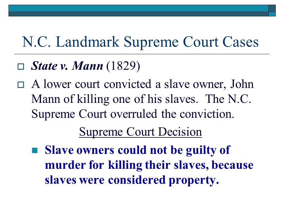N.C. Landmark Supreme Court Cases  State v.