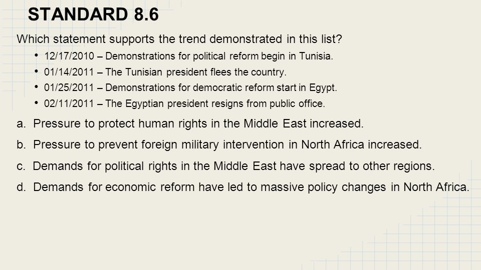 STANDARD 8.6 Which statement supports the trend demonstrated in this list? 12/17/2010 – Demonstrations for political reform begin in Tunisia. 01/14/20