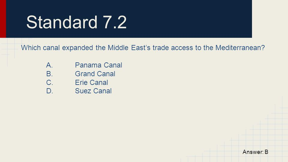 Standard 7.2 Which canal expanded the Middle East's trade access to the Mediterranean? A. Panama Canal B. Grand Canal C. Erie Canal D. Suez Canal Answ