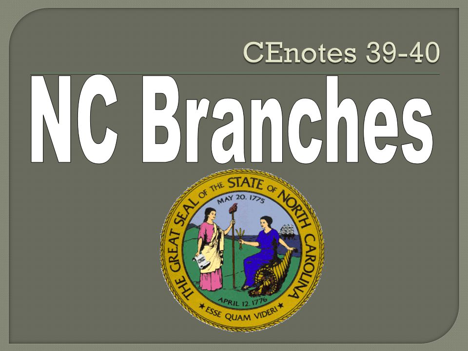  SWBAT explain the powers of North Carolina's legislative branch  SWBAT explain the powers of North Carolina's executive branch  SWBAT compare North Carolina's amendment process with the process for amending the US Constitution.