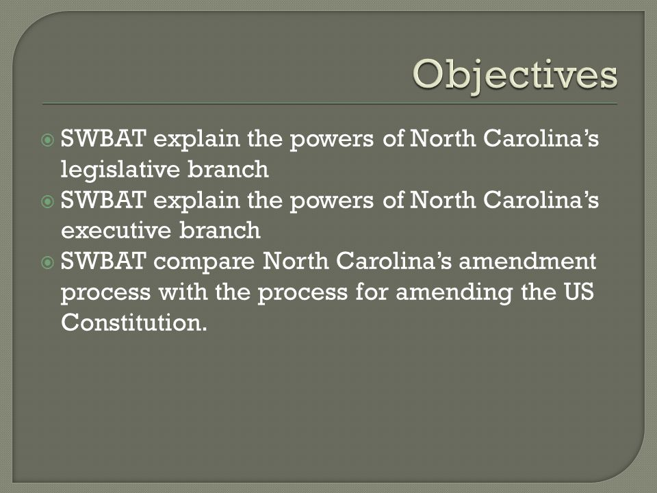 Legislative Branch General Assembly: House & Senate  Powers:  Passes statutes (laws for the state)  Sets up local governments through charters.