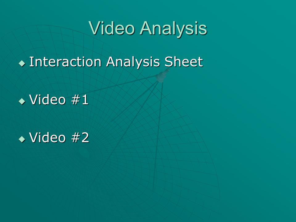 Video Analysis  Interaction Analysis Sheet  Video #1  Video #2