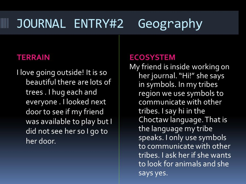 JOURNAL ENTRY#2 Geography TERRAINECOSYSTEM I love going outside.