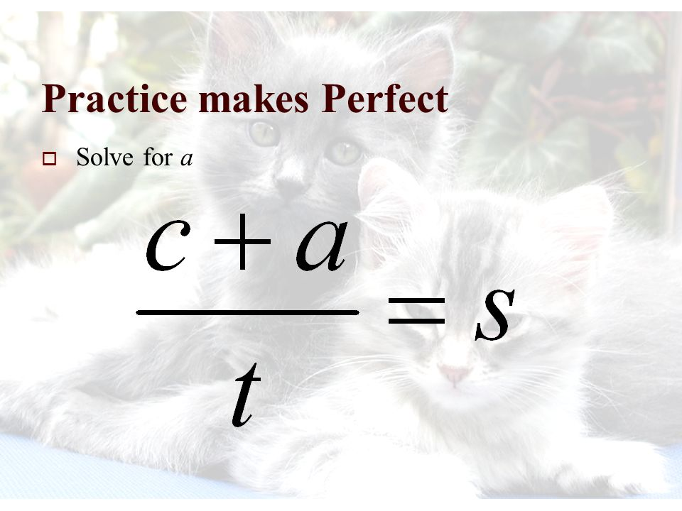 Practice makes Perfect  Solve for l