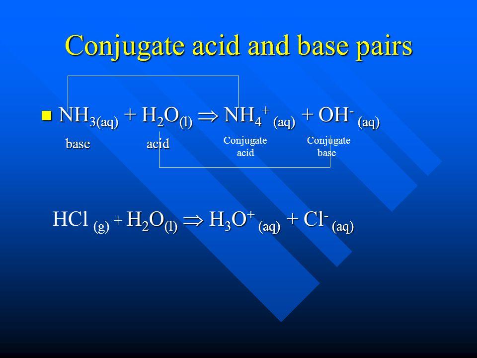Conjugate acid and base pairs NH 3(aq) + H 2 O (l)  NH 4 + (aq) + OH - (aq) NH 3(aq) + H 2 O (l)  NH 4 + (aq) + OH - (aq) base acid base acid H 2 O (l)  H 3 O + (aq) + Cl - (aq) HCl (g) + H 2 O (l)  H 3 O + (aq) + Cl - (aq) Conjugate base Conjugate acid