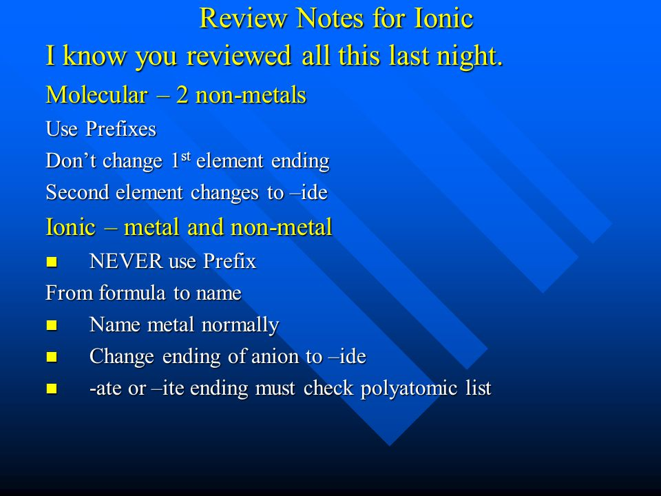 Review Notes for Ionic I know you reviewed all this last night. Molecular – 2 non-metals Use Prefixes Don't change 1 st element ending Second element