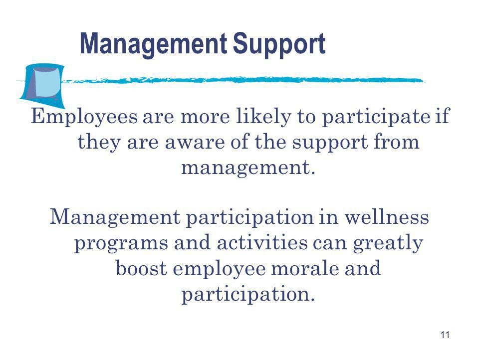 11 Management Support Employees are more likely to participate if they are aware of the support from management. Management participation in wellness