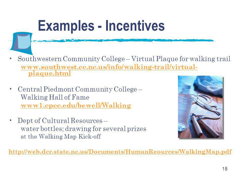 15 Examples - Incentives Southwestern Community College – Virtual Plaque for walking trail www.southwest.cc.nc.us/info/walking-trail/virtual- plaque.h