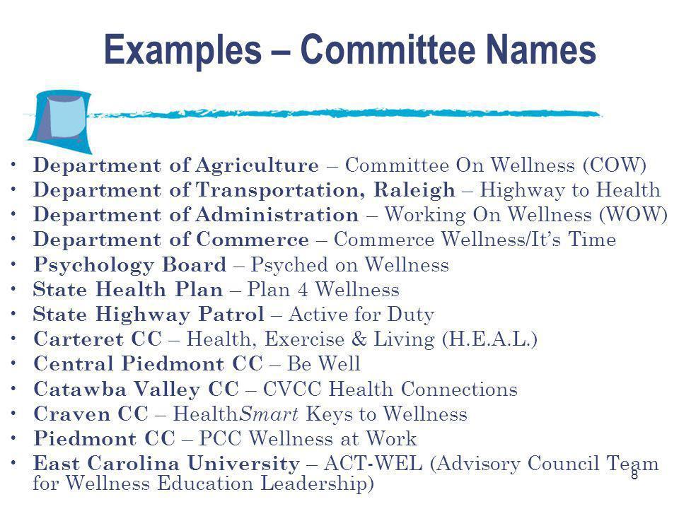 8 Examples – Committee Names Department of Agriculture – Committee On Wellness (COW) Department of Transportation, Raleigh – Highway to Health Departm