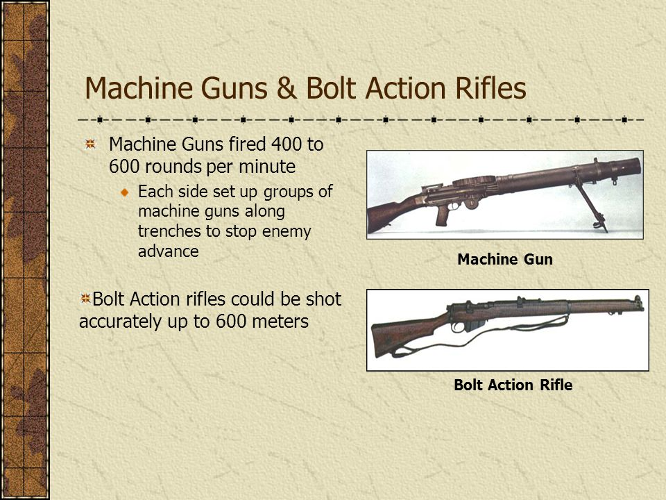 Machine Guns & Bolt Action Rifles Machine Guns fired 400 to 600 rounds per minute Each side set up groups of machine guns along trenches to stop enemy