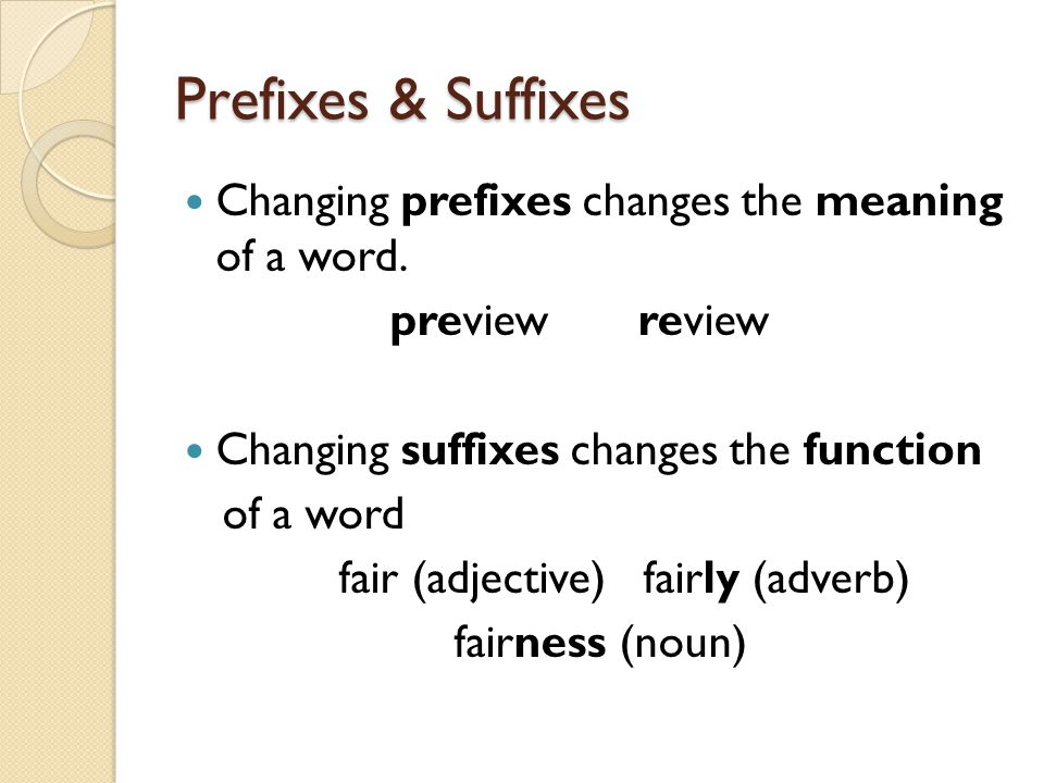 Prefixes & Suffixes Changing prefixes changes the meaning of a word. preview review Changing suffixes changes the function of a word fair (adjective)