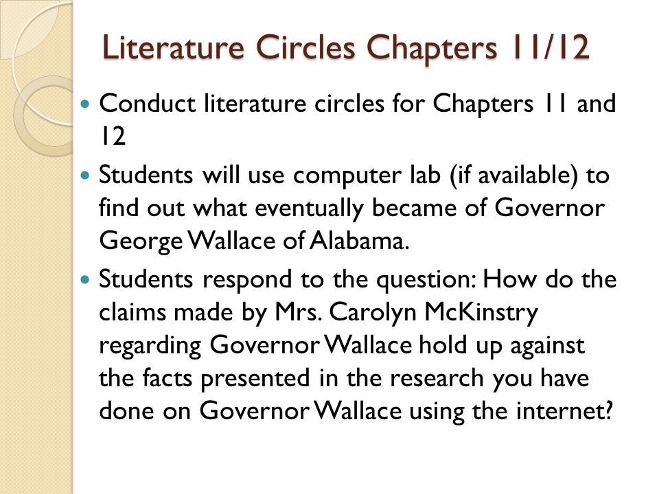 Literature Circles Chapters 11/12 Conduct literature circles for Chapters 11 and 12 Students will use computer lab (if available) to find out what eve
