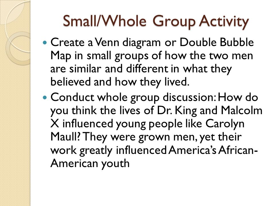 Small/Whole Group Activity Create a Venn diagram or Double Bubble Map in small groups of how the two men are similar and different in what they believ