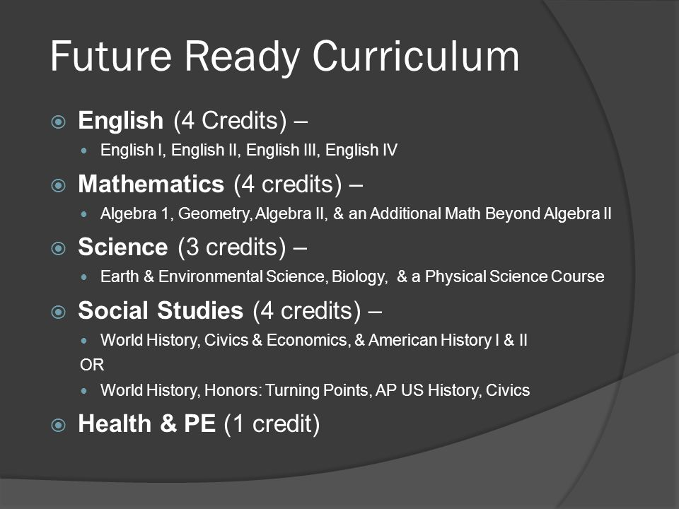 Future Ready Curriculum  English (4 Credits) – English I, English II, English III, English IV  Mathematics (4 credits) – Algebra 1, Geometry, Algebra II, & an Additional Math Beyond Algebra II  Science (3 credits) – Earth & Environmental Science, Biology, & a Physical Science Course  Social Studies (4 credits) – World History, Civics & Economics, & American History I & II OR World History, Honors: Turning Points, AP US History, Civics  Health & PE (1 credit)