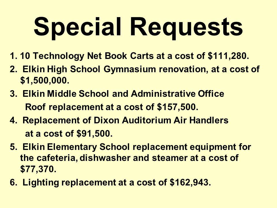 Special Requests 1. 10 Technology Net Book Carts at a cost of $111,280.