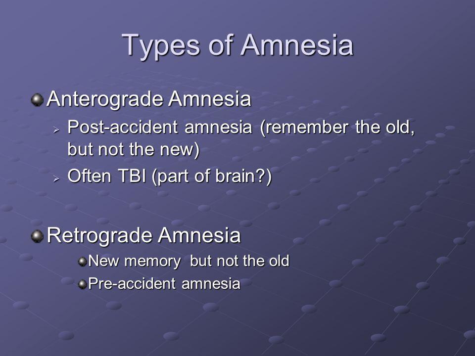Types of Amnesia Anterograde Amnesia  Post-accident amnesia (remember the old, but not the new)  Often TBI (part of brain?) Retrograde Amnesia New m