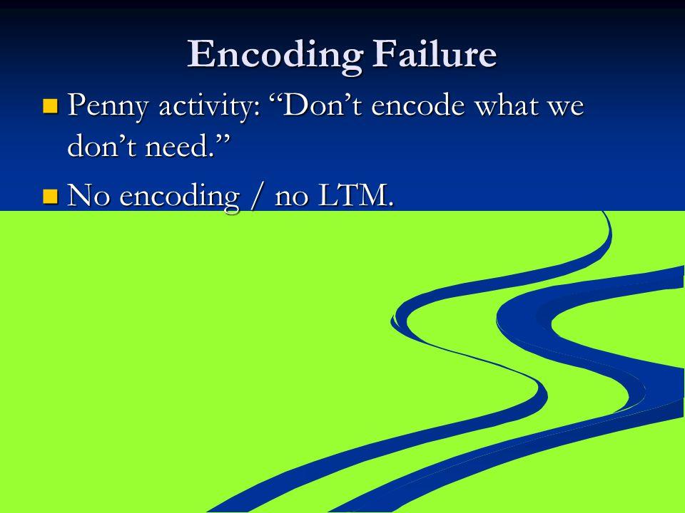 "Encoding Failure Penny activity: ""Don't encode what we don't need."" Penny activity: ""Don't encode what we don't need."" No encoding / no LTM. No encodi"