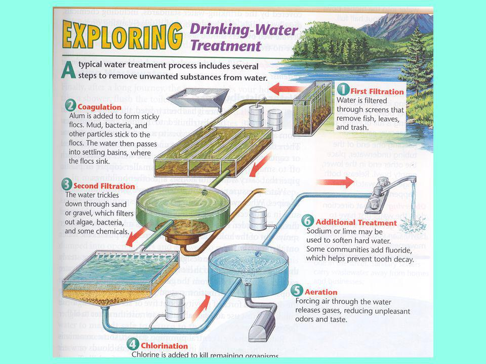 DRINKING WATER TREATMENT 1.COARSE FILTRATION – REMOVES STICKS, ROCKS, LEAVES, FISH, BODIES, ETC.
