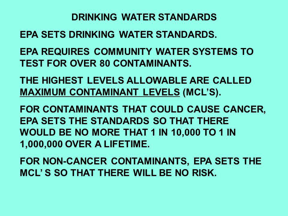 DRINKING WATER STANDARDS EPA SETS DRINKING WATER STANDARDS.