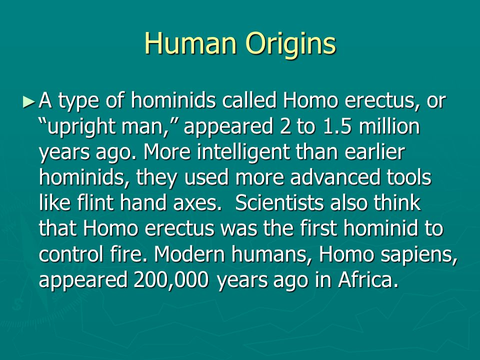 """Human Origins ► A type of hominids called Homo erectus, or """"upright man,"""" appeared 2 to 1.5 million years ago. More intelligent than earlier hominids,"""