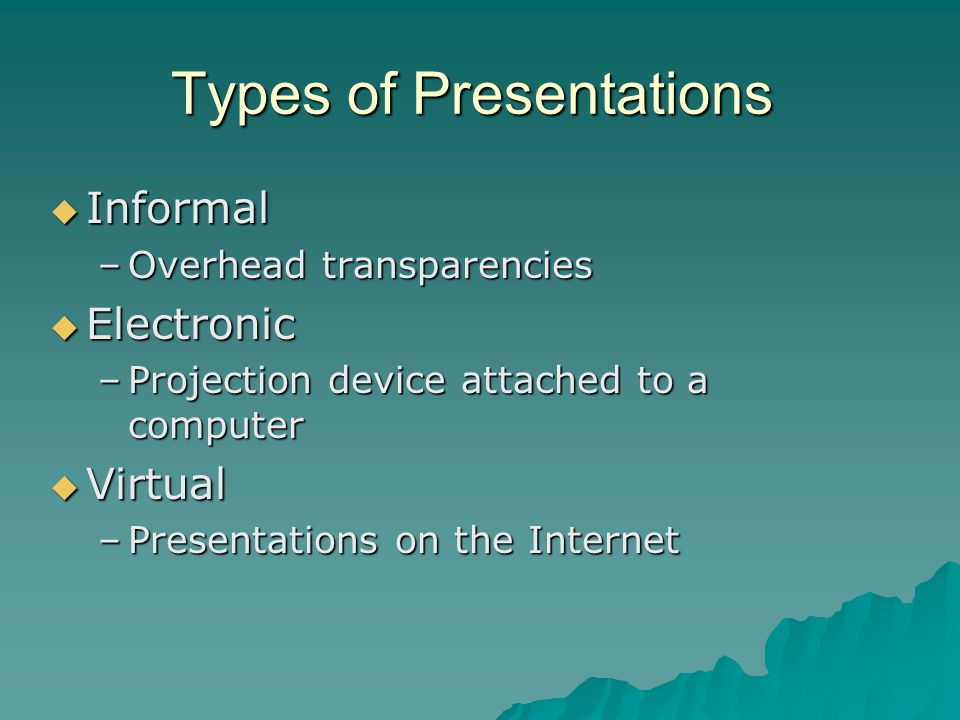 Types of Presentations  Informal –Overhead transparencies  Electronic –Projection device attached to a computer  Virtual –Presentations on the Inte