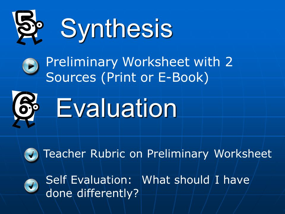 Synthesis Evaluation Teacher Rubric on Preliminary Worksheet Preliminary Worksheet with 2 Sources (Print or E-Book) Self Evaluation: What should I have done differently?