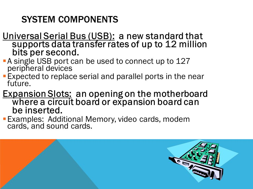 SYSTEM COMPONENTS Universal Serial Bus (USB): a new standard that supports data transfer rates of up to 12 million bits per second.  A single USB por