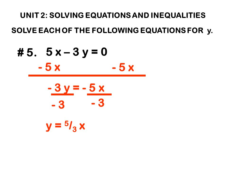 UNIT 2: SOLVING EQUATIONS AND INEQUALITIES SOLVE EACH OF THE FOLLOWING EQUATIONS FOR y.