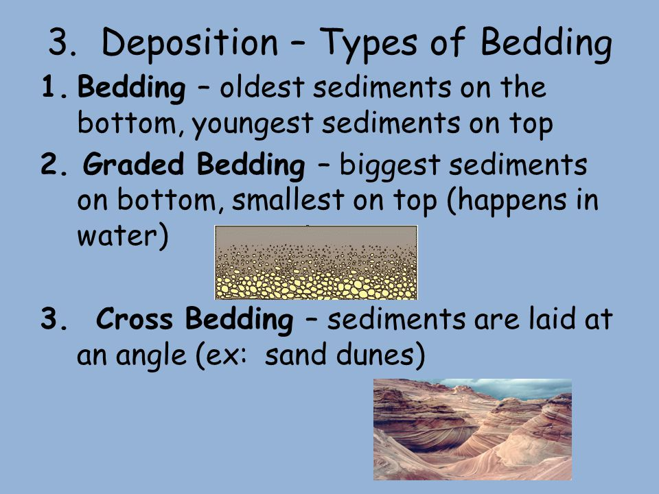 3. Deposition – Types of Bedding 1.Bedding – oldest sediments on the bottom, youngest sediments on top 2. Graded Bedding – biggest sediments on bottom