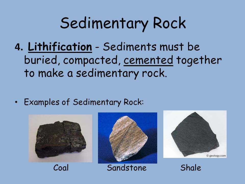 Sedimentary Rock 4. Lithification - Sediments must be buried, compacted, cemented together to make a sedimentary rock. Examples of Sedimentary Rock: C