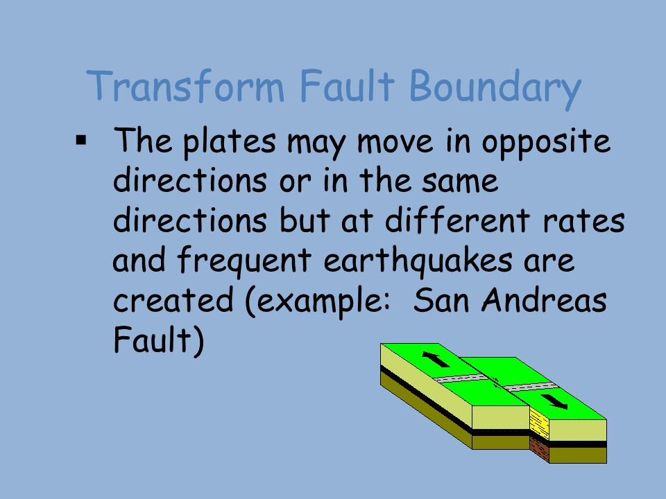 Transform Fault Boundary  The plates may move in opposite directions or in the same directions but at different rates and frequent earthquakes are cr