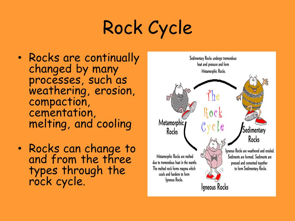 Rock Cycle Rocks are continually changed by many processes, such as weathering, erosion, compaction, cementation, melting, and cooling Rocks can chang