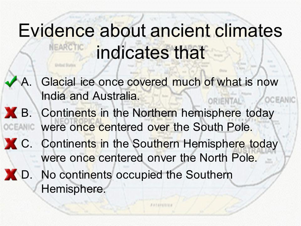 Evidence about ancient climates indicates that A.Glacial ice once covered much of what is now India and Australia.