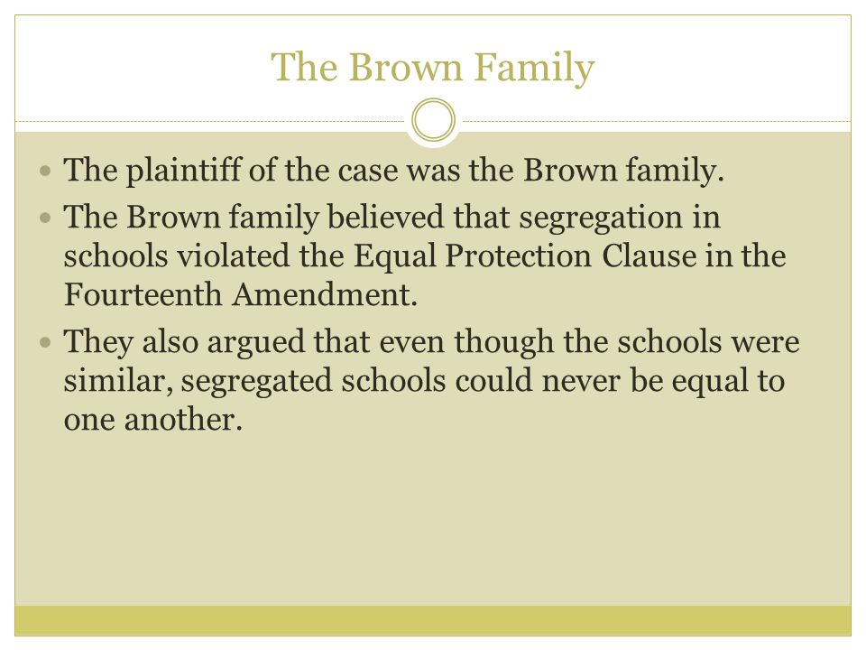 The Brown Family The plaintiff of the case was the Brown family.