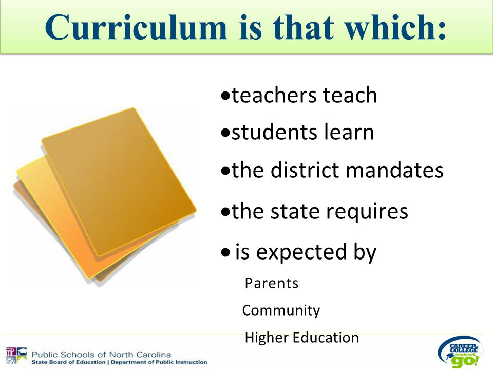 Curriculum is that which:  teachers teach  students learn  the district mandates  the state requires  is expected by Parents Community Higher Education