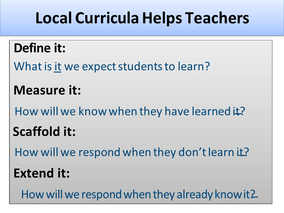 Local Curricula Helps Teachers Define it: What is it we expect students to learn.