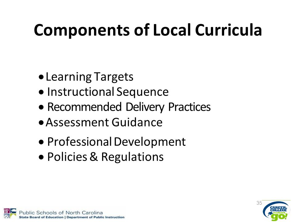 Components of Local Curricula  Learning Targets  Instructional Sequence  Recommended Delivery Practices  Assessment Guidance  Professional Development  Policies & Regulations 35