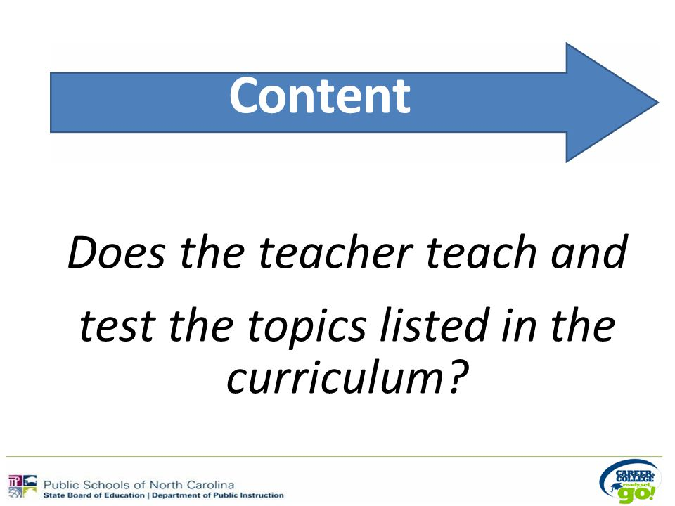 Content Does the teacher teach and test the topics listed in the curriculum