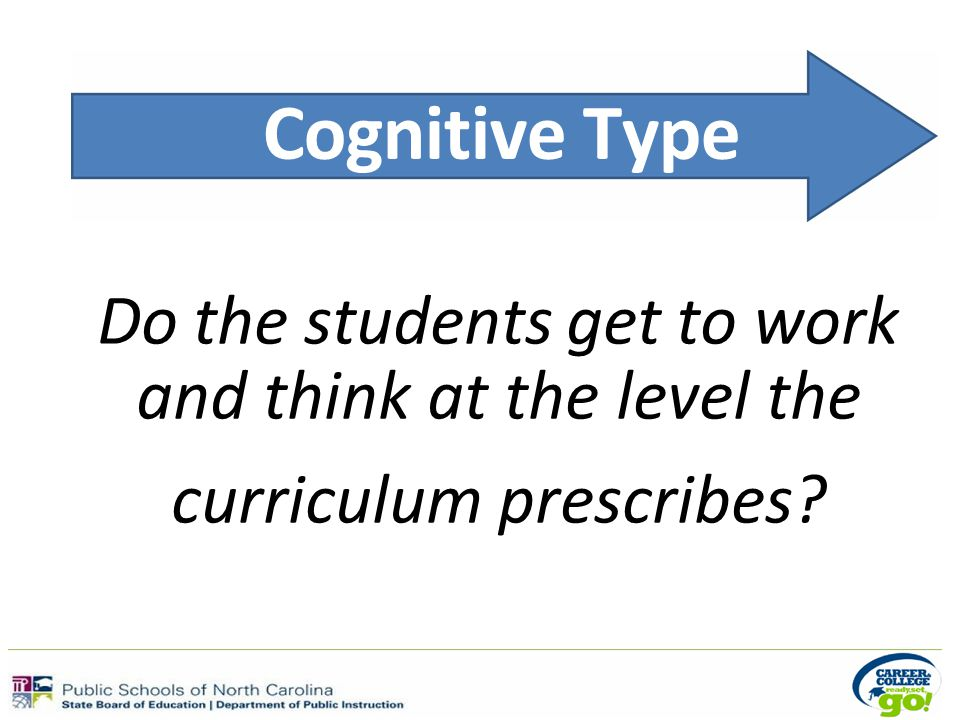 Cognitive Type Do the students get to work and think at the level the curriculum prescribes