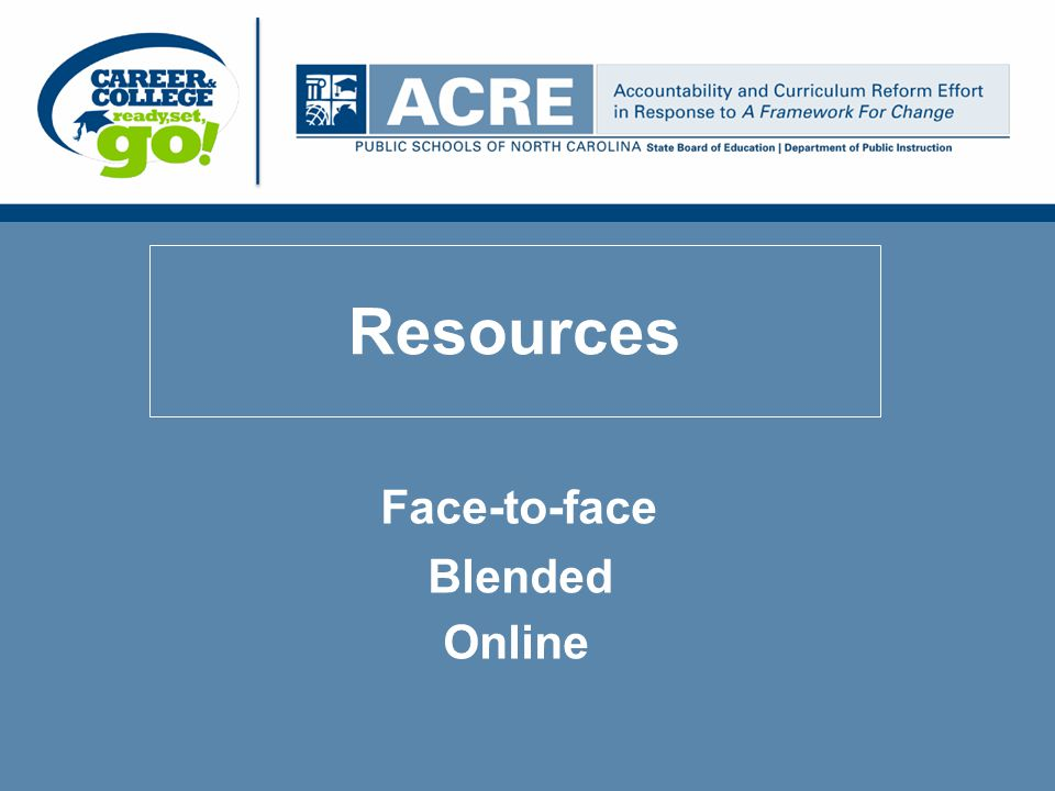 Resources Face-to-face Blended Online