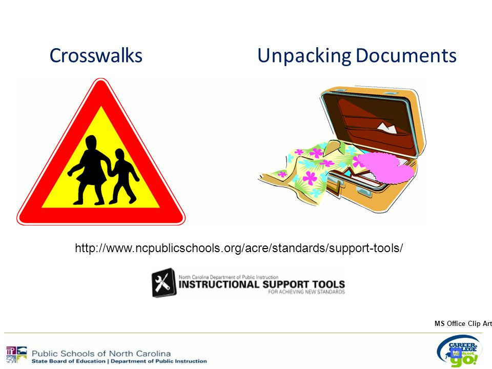 84 CrosswalksUnpacking Documents MS Office Clip Art http://www.ncpublicschools.org/acre/standards/support-tools/