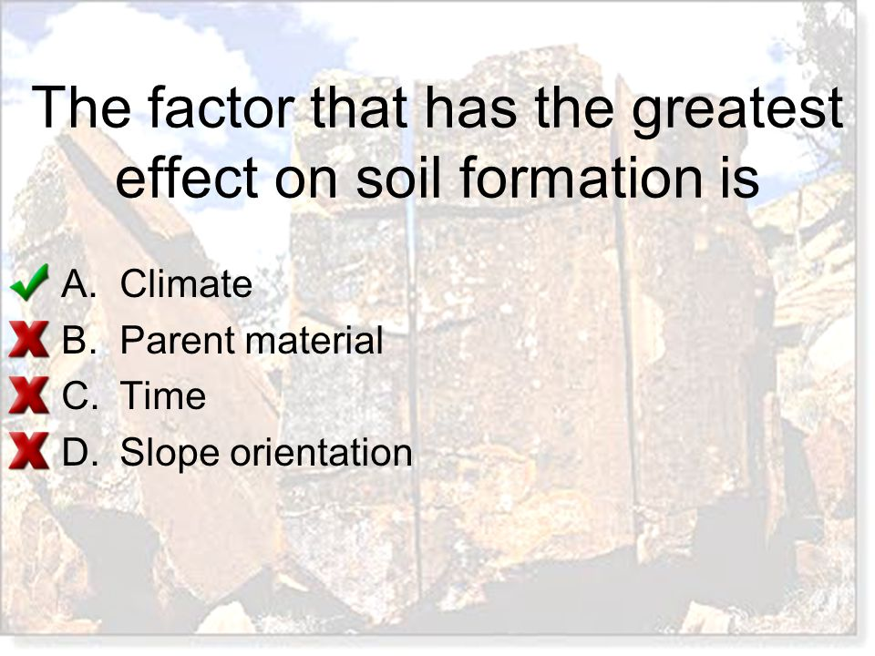 The factor that has the greatest effect on soil formation is A.Climate B.Parent material C.Time D.Slope orientation