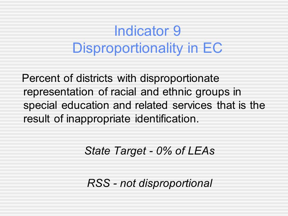 Indicator 9 Disproportionality in EC Percent of districts with disproportionate representation of racial and ethnic groups in special education and related services that is the result of inappropriate identification.