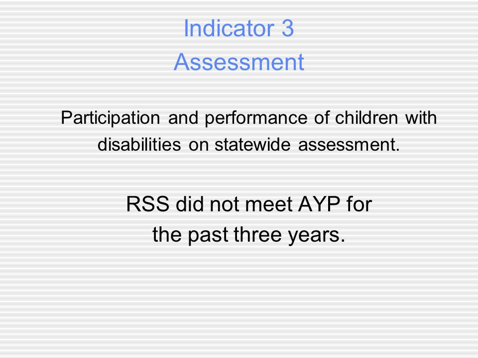 Indicator 3 Assessment Participation and performance of children with disabilities on statewide assessment.