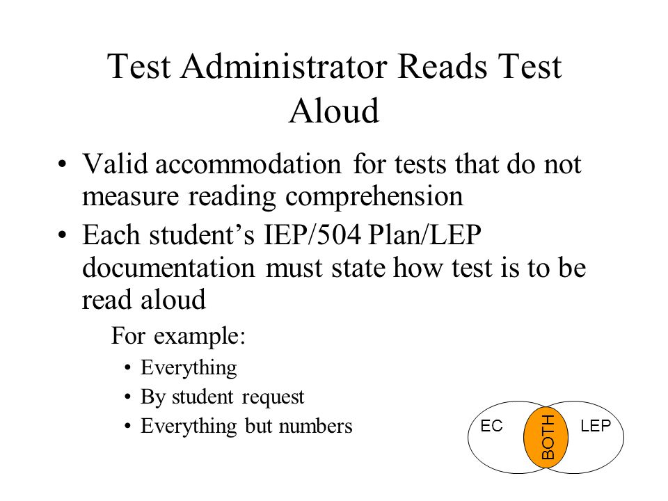 Test Administrator Reads Test Aloud Valid accommodation for tests that do not measure reading comprehension Each student's IEP/504 Plan/LEP documentat