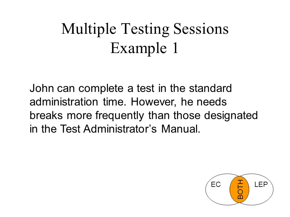Multiple Testing Sessions Example 1 John can complete a test in the standard administration time.