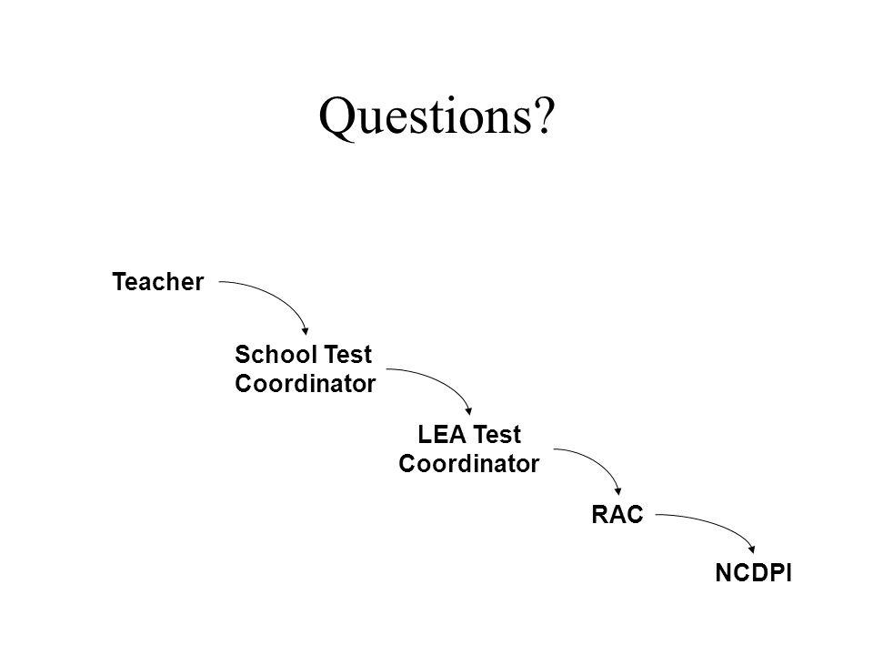 Questions Teacher School Test Coordinator LEA Test Coordinator RAC NCDPI