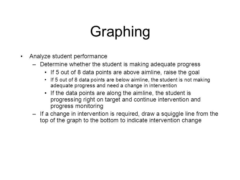 Graphing Continued… Set the goal/target –Determine the expected rate of progress (e.g.